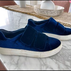 Velvet blue Velcro sneakers by Jslides